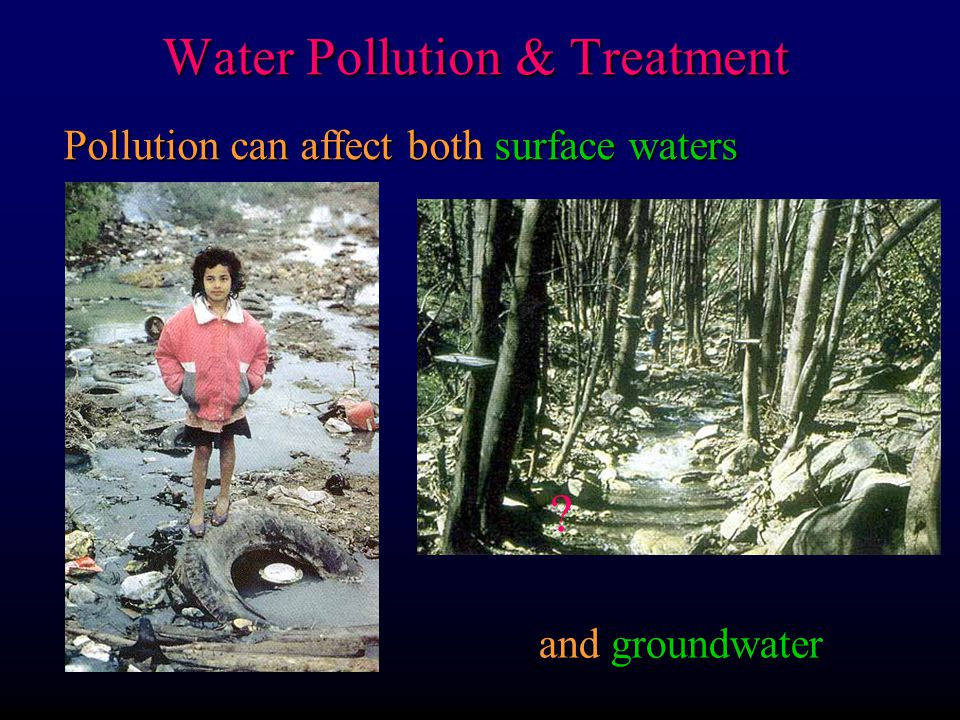 Pollution can affect both surface waters and groundwater Water Pollution & Treatment