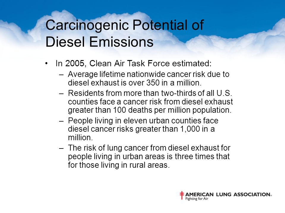 Carcinogenic Potential of Diesel Emissions In 2005, Clean Air Task Force estimated: –Average lifetime nationwide cancer risk due to diesel exhaust is