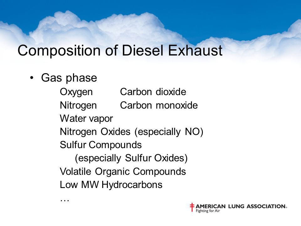 Composition of Diesel Exhaust Gas phase OxygenCarbon dioxide NitrogenCarbon monoxide Water vapor Nitrogen Oxides (especially NO) Sulfur Compounds (esp
