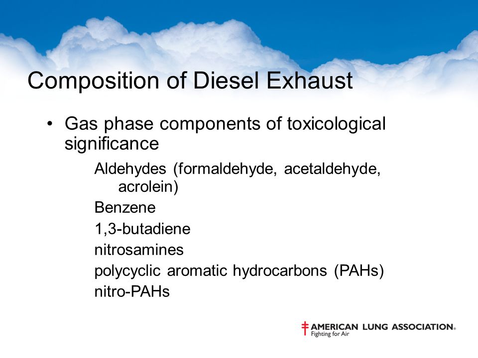 Composition of Diesel Exhaust Gas phase components of toxicological significance Aldehydes (formaldehyde, acetaldehyde, acrolein) Benzene 1,3-butadiene nitrosamines polycyclic aromatic hydrocarbons (PAHs) nitro-PAHs