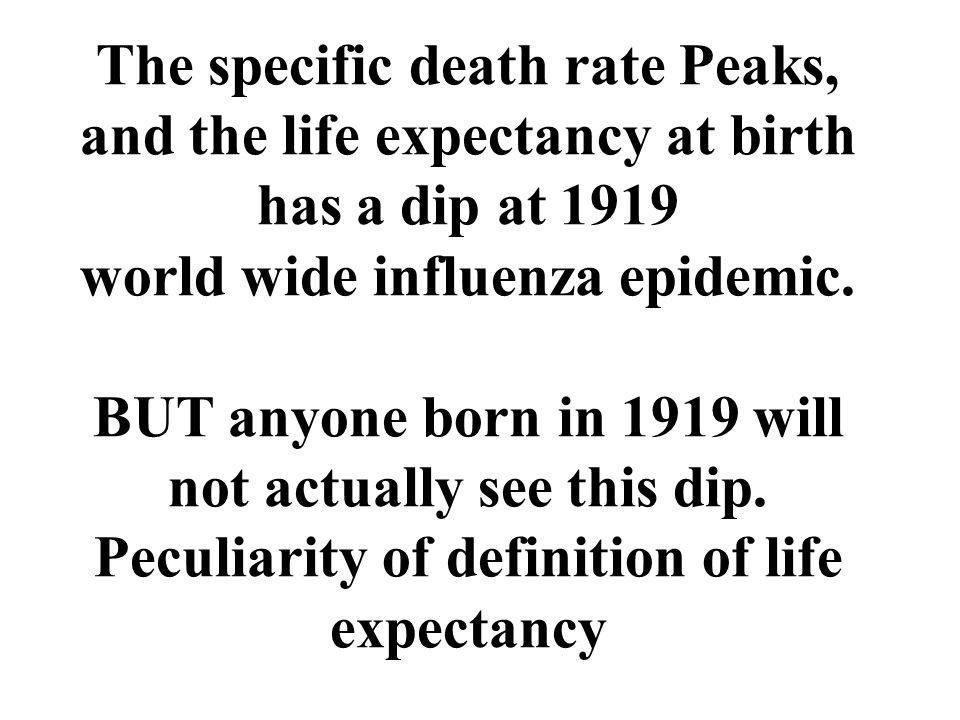 The specific death rate Peaks, and the life expectancy at birth has a dip at 1919 world wide influenza epidemic.