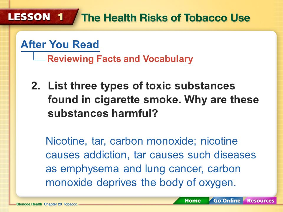 After You Read Reviewing Facts and Vocabulary A substance that causes physiological or psychological dependence; nicotine 1.What is an addictive drug?