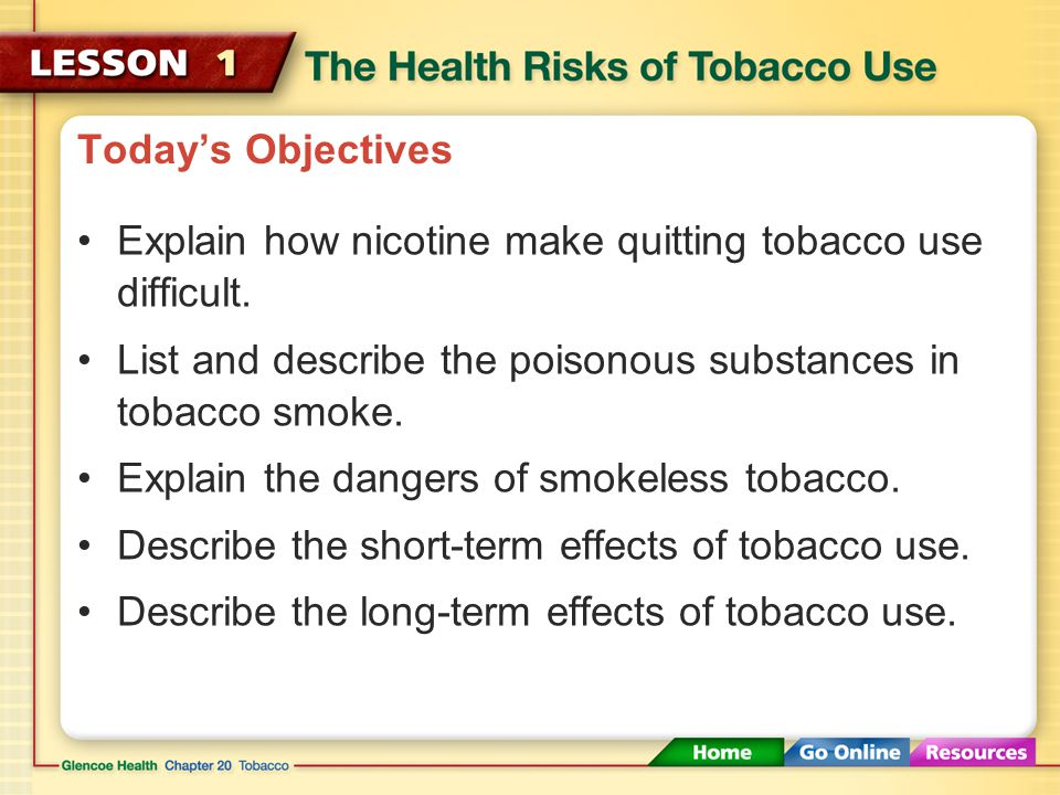 Today's Objectives Explain how nicotine make quitting tobacco use difficult.