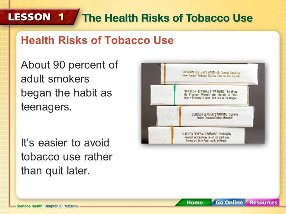 Health Risks of Tobacco Use Any form of tobacco use, such as smoking, chewing, or dipping tobacco, can cause health problems. Smoking has been linked