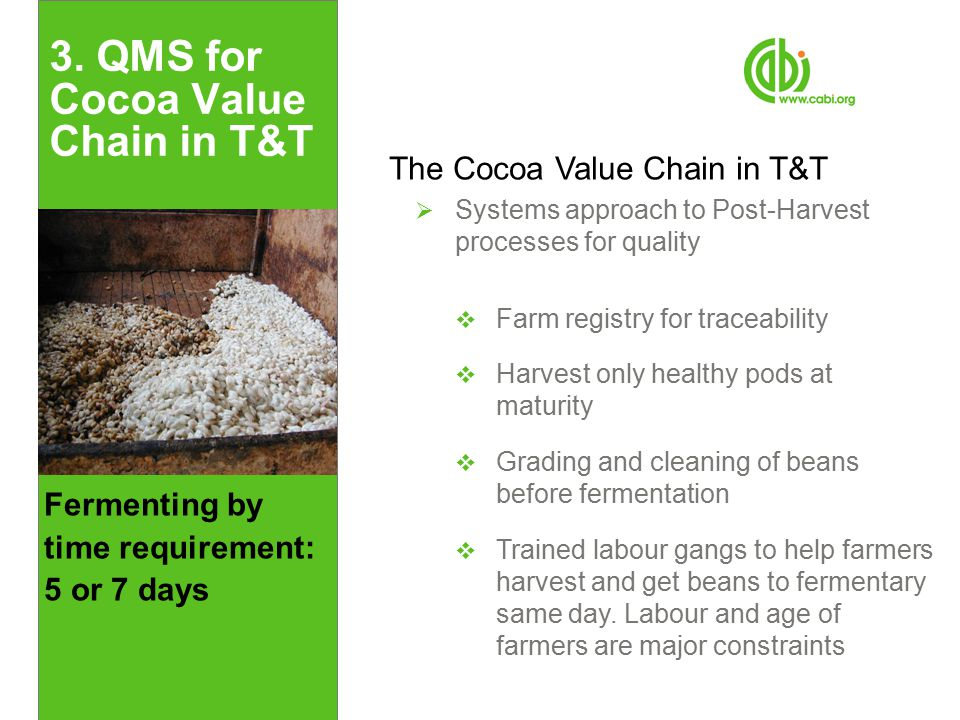 Fermenting by time requirement: 5 or 7 days 3. QMS for Cocoa Value Chain in T&T The Cocoa Value Chain in T&T  Systems approach to Post-Harvest proces