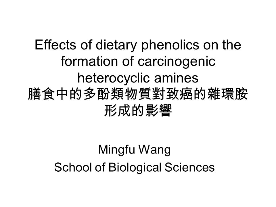 Effects of dietary phenolics on the formation of carcinogenic heterocyclic amines 膳食中的多酚類物質對致癌的雜環胺 形成的影響 Mingfu Wang School of Biological Sciences