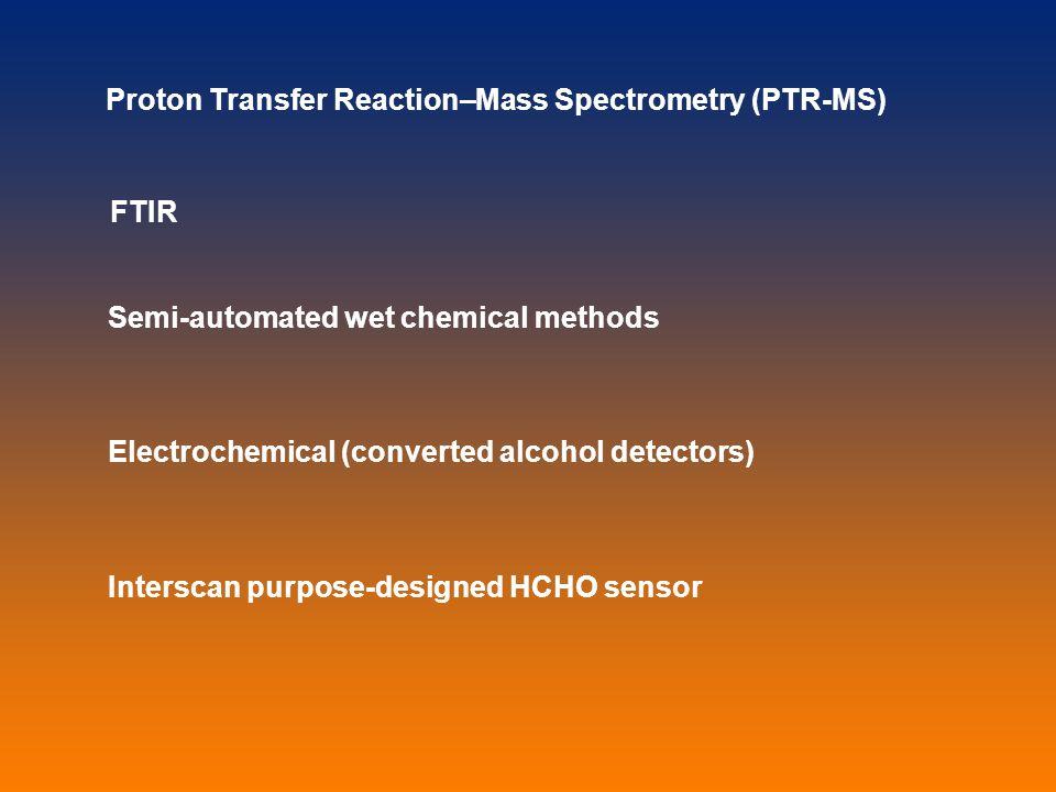 FTIR Semi-automated wet chemical methods Electrochemical (converted alcohol detectors) Interscan purpose-designed HCHO sensor Proton Transfer Reaction