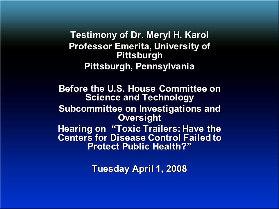 Testimony of Dr. Meryl H.