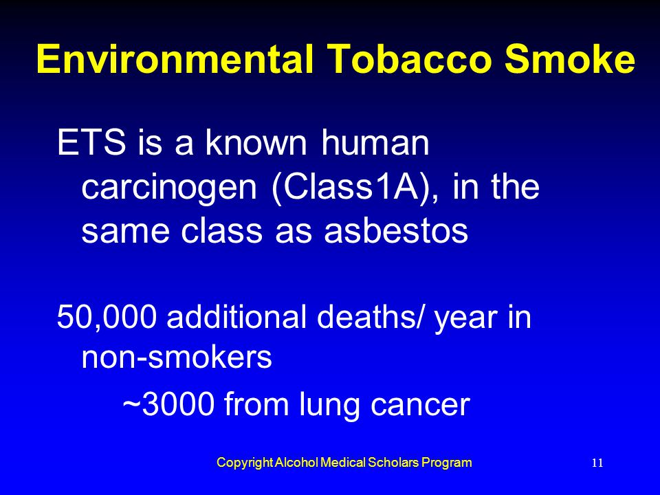 Copyright Alcohol Medical Scholars Program11 Environmental Tobacco Smoke ETS is a known human carcinogen (Class1A), in the same class as asbestos 50,0