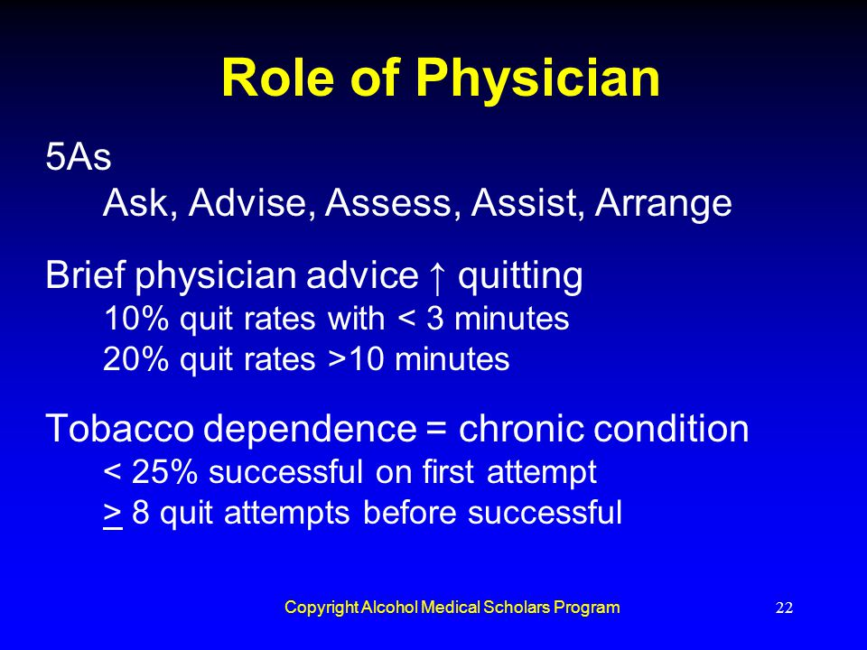 Copyright Alcohol Medical Scholars Program22 Role of Physician 5As Ask, Advise, Assess, Assist, Arrange Brief physician advice ↑ quitting 10% quit rat