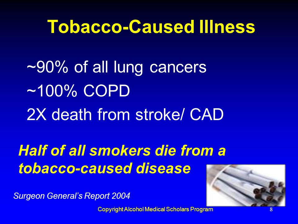 Copyright Alcohol Medical Scholars Program8 Tobacco-Caused Illness ~90% of all lung cancers ~100% COPD 2X death from stroke/ CAD Half of all smokers d