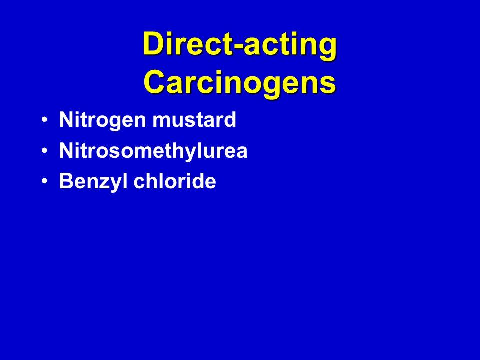 Direct-acting Carcinogens Nitrogen mustard Nitrosomethylurea Benzyl chloride