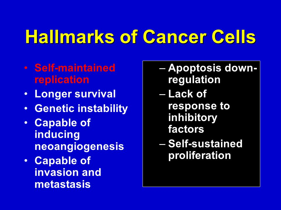 Hallmarks of Cancer Cells Self-maintained replication Longer survival Genetic instability Capable of inducing neoangiogenesis Capable of invasion and metastasis –Apoptosis down- regulation –Lack of response to inhibitory factors –Self-sustained proliferation