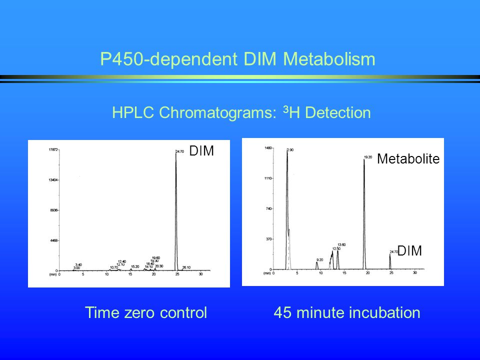 P450-dependent DIM Metabolism HPLC Chromatograms: 3 H Detection Time zero control 45 minute incubation DIM Metabolite