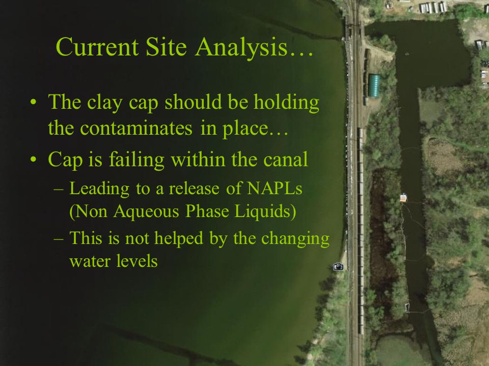 Current Site Analysis… The clay cap should be holding the contaminates in place… Cap is failing within the canal –Leading to a release of NAPLs (Non Aqueous Phase Liquids) –This is not helped by the changing water levels