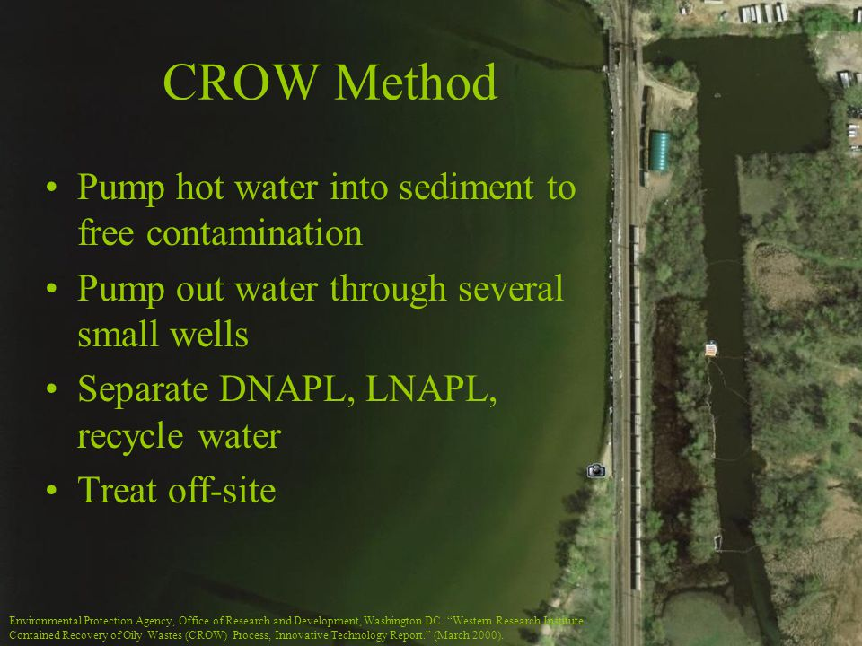 CROW Method Pump hot water into sediment to free contamination Pump out water through several small wells Separate DNAPL, LNAPL, recycle water Treat off-site Environmental Protection Agency, Office of Research and Development, Washington DC.