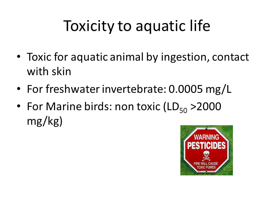 Toxicity to aquatic life Toxic for aquatic animal by ingestion, contact with skin For freshwater invertebrate: 0.0005 mg/L For Marine birds: non toxic (LD 50 >2000 mg/kg)