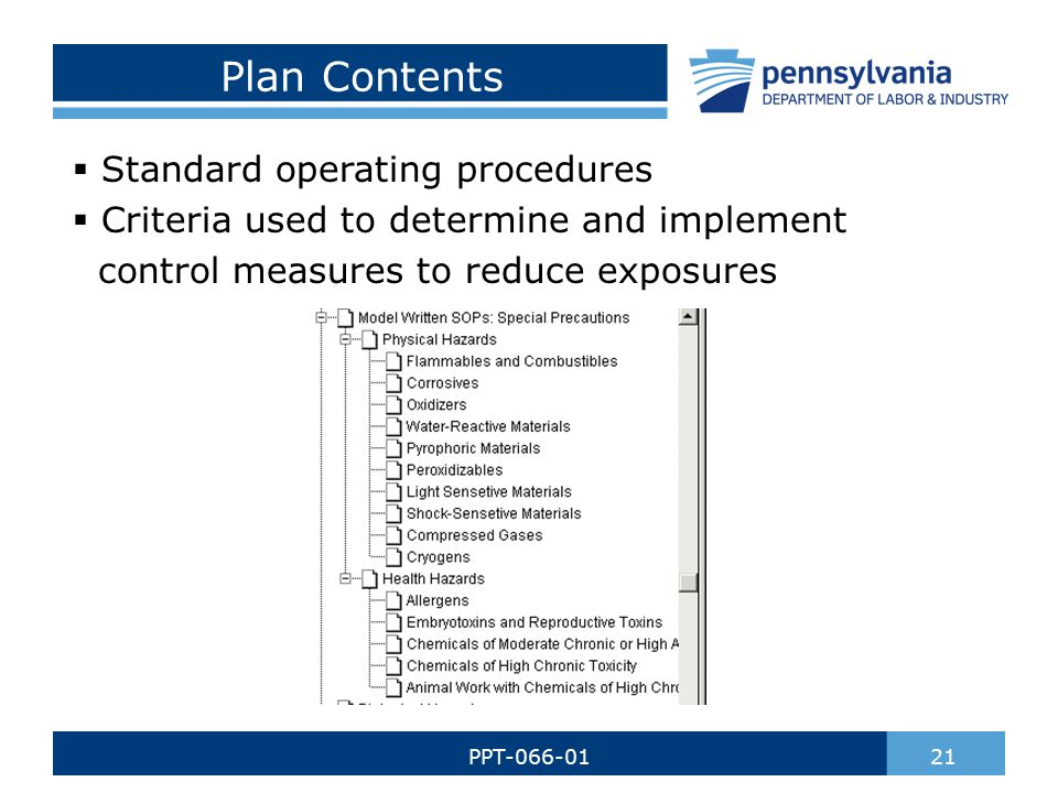 Plan Contents  Standard operating procedures  Criteria used to determine and implement control measures to reduce exposures 21PPT-066-01