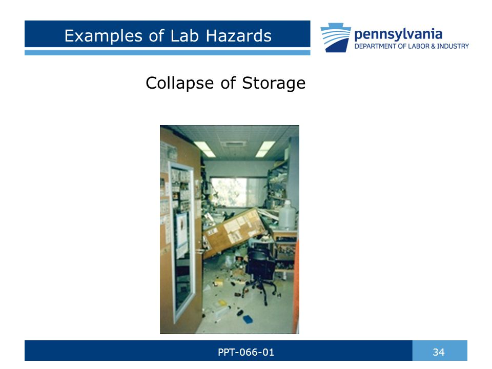 Examples of Lab Hazards Collapse of Storage 34PPT