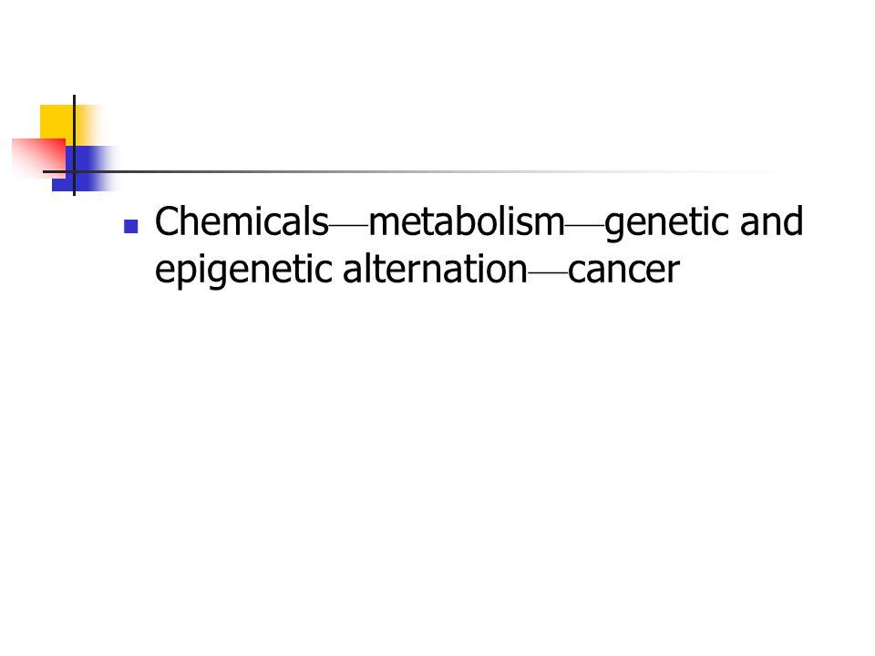 Chemicals — metabolism — genetic and epigenetic alternation — cancer