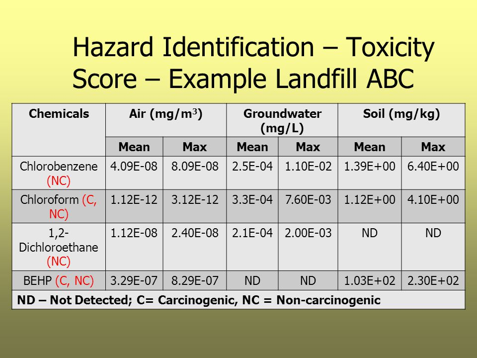 Hazard Identification – Toxicity Score – Example Landfill ABC ChemicalsAir (mg/m 3 )Groundwater (mg/L) Soil (mg/kg) MeanMaxMeanMaxMeanMax Chlorobenzen