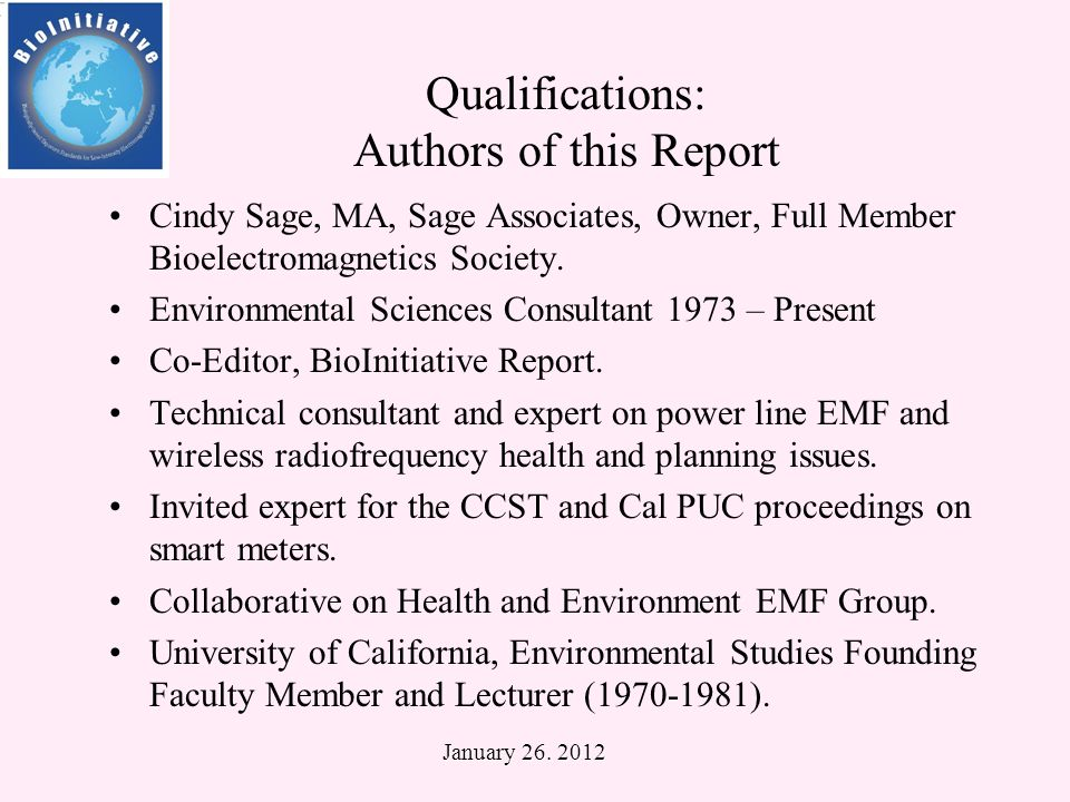 Qualifications: Authors of this Report David O.