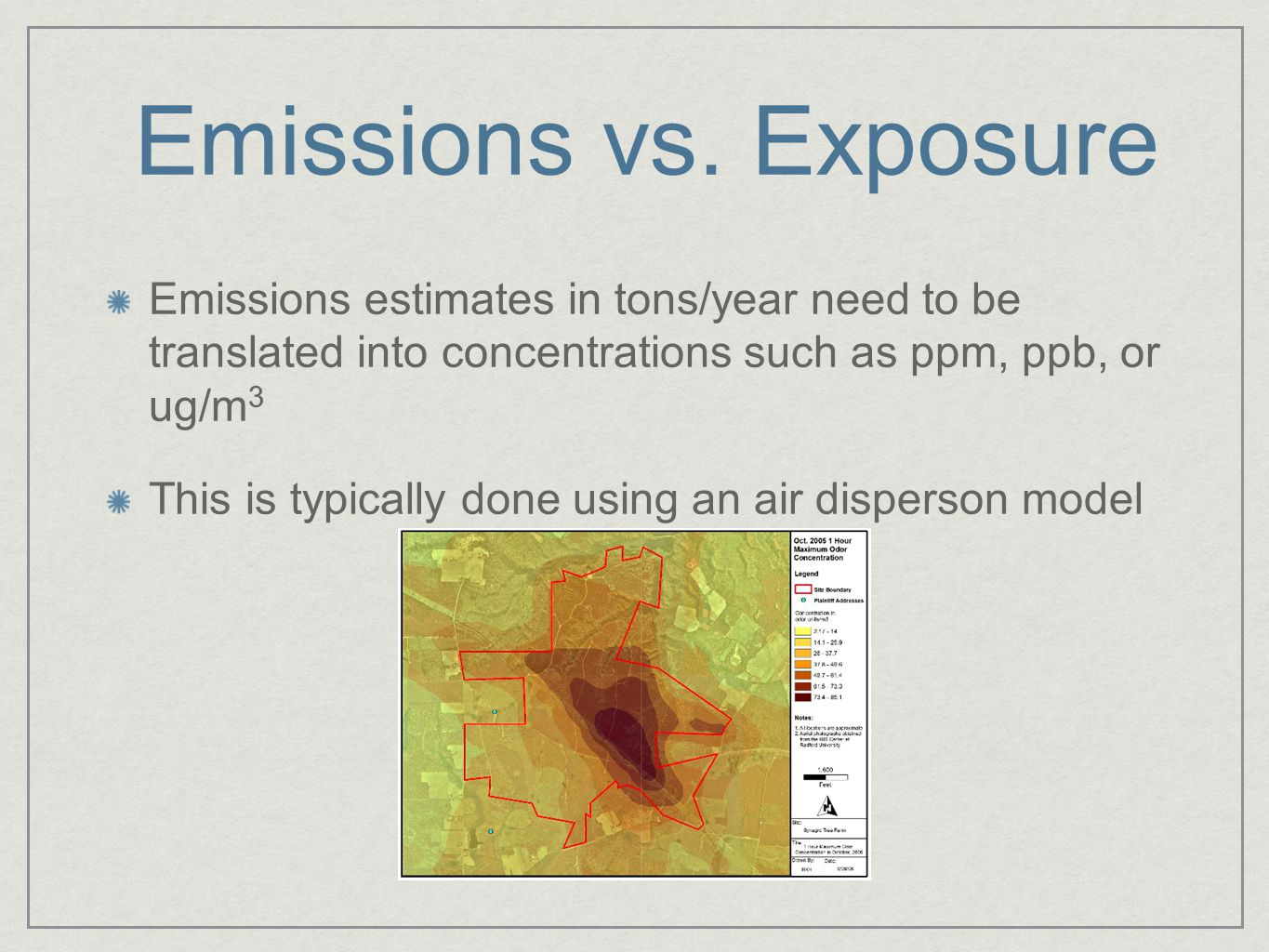 Emissions vs. Exposure Emissions estimates in tons/year need to be translated into concentrations such as ppm, ppb, or ug/m 3 This is typically done u
