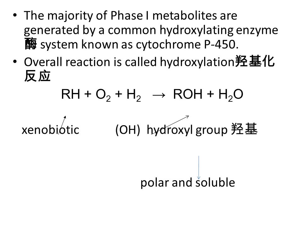 Figure 3.2 Hydroxylation reaction by cytochrome P-450 P-450 has a prosthetic group 辅基 inside xenobiotic