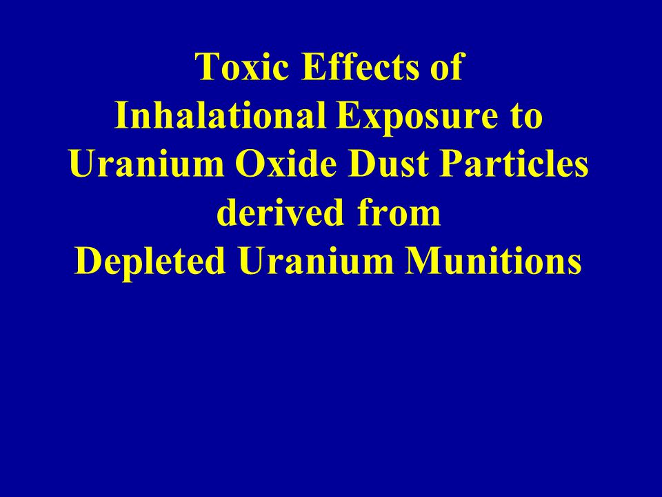 Toxic Effects of Inhalational Exposure to Uranium Oxide Dust Particles derived from Depleted Uranium Munitions
