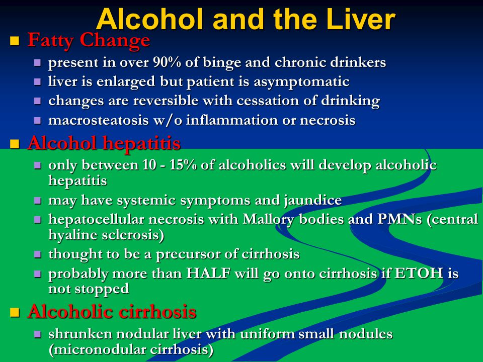 Alcohol and the Liver Fatty Change Fatty Change present in over 90% of binge and chronic drinkers present in over 90% of binge and chronic drinkers liver is enlarged but patient is asymptomatic liver is enlarged but patient is asymptomatic changes are reversible with cessation of drinking changes are reversible with cessation of drinking macrosteatosis w/o inflammation or necrosis macrosteatosis w/o inflammation or necrosis Alcohol hepatitis Alcohol hepatitis only between 10 - 15% of alcoholics will develop alcoholic hepatitis only between 10 - 15% of alcoholics will develop alcoholic hepatitis may have systemic symptoms and jaundice may have systemic symptoms and jaundice hepatocellular necrosis with Mallory bodies and PMNs (central hyaline sclerosis) hepatocellular necrosis with Mallory bodies and PMNs (central hyaline sclerosis) thought to be a precursor of cirrhosis thought to be a precursor of cirrhosis probably more than HALF will go onto cirrhosis if ETOH is not stopped probably more than HALF will go onto cirrhosis if ETOH is not stopped Alcoholic cirrhosis Alcoholic cirrhosis shrunken nodular liver with uniform small nodules (micronodular cirrhosis) shrunken nodular liver with uniform small nodules (micronodular cirrhosis)