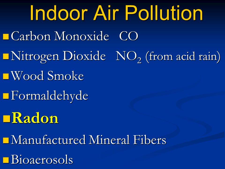 Indoor Air Pollution Carbon Monoxide CO Carbon Monoxide CO Nitrogen Dioxide NO 2 ( from acid rain ) Nitrogen Dioxide NO 2 ( from acid rain ) Wood Smok