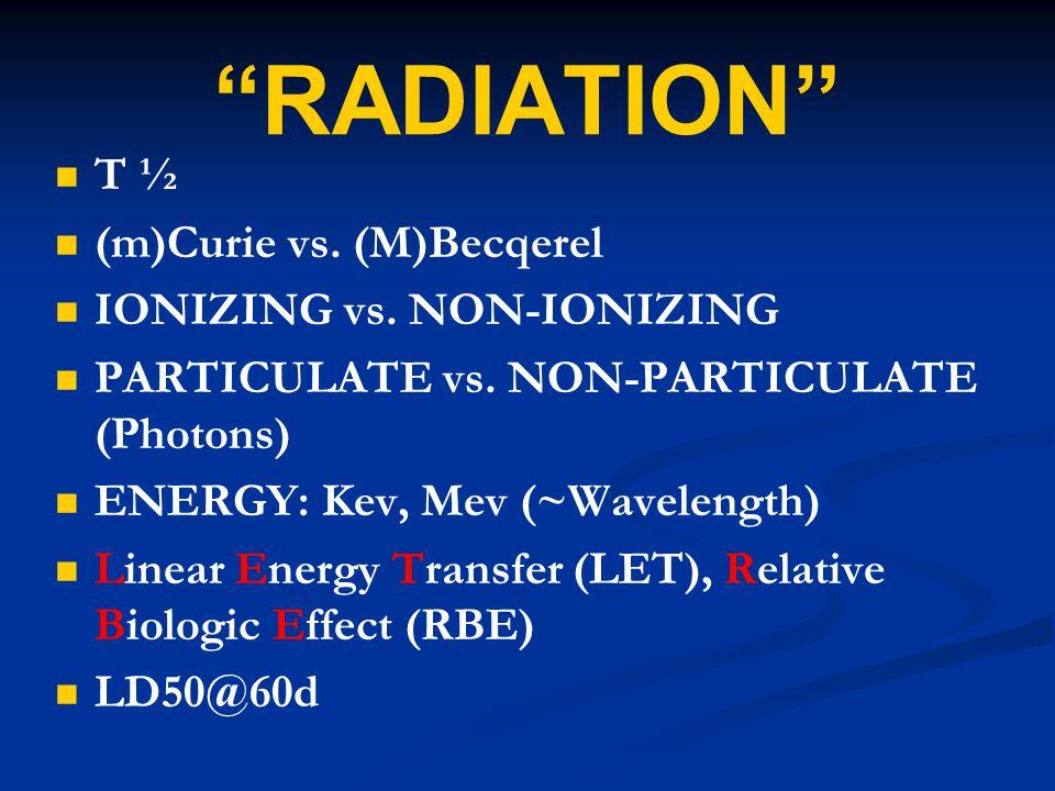 """RADIATION"" T ½ (m)Curie vs. (M)Becqerel IONIZING vs. NON-IONIZING PARTICULATE vs. NON-PARTICULATE (Photons) ENERGY: Kev, Mev (~Wavelength) Linear Ene"