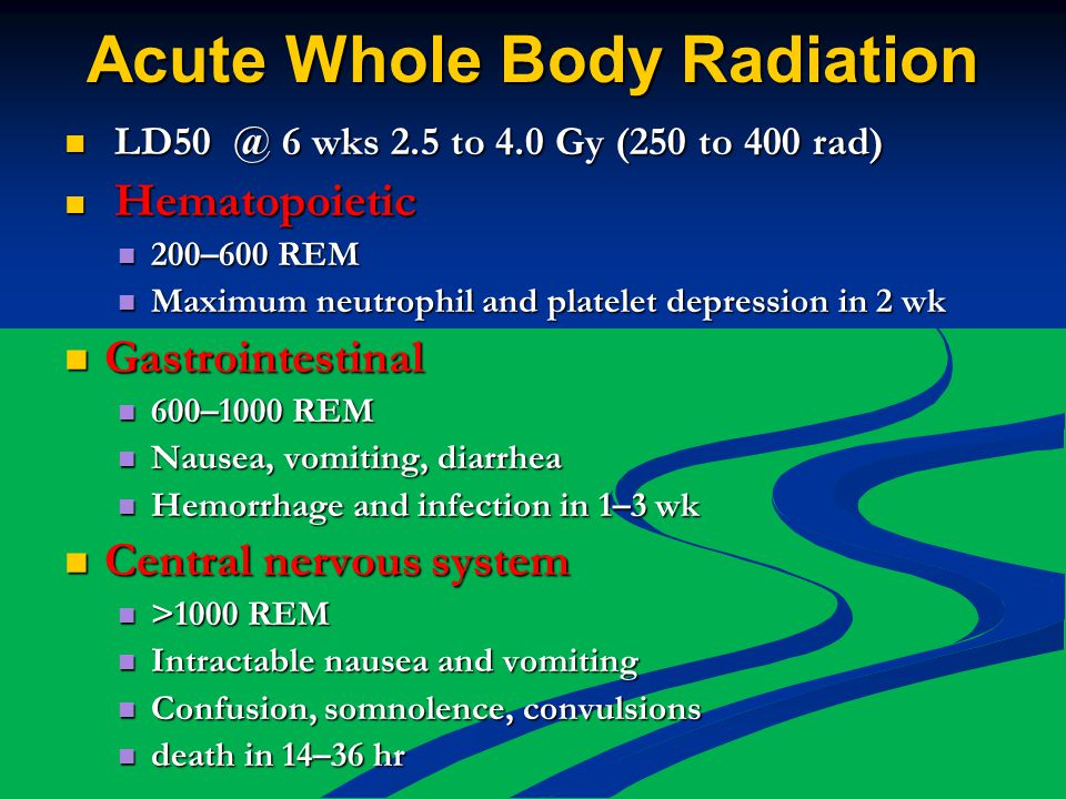 Acute Whole Body Radiation LD50 @ 6 wks 2.5 to 4.0 Gy (250 to 400 rad) LD50 @ 6 wks 2.5 to 4.0 Gy (250 to 400 rad) Hematopoietic Hematopoietic 200–600 REM 200–600 REM Maximum neutrophil and platelet depression in 2 wk Maximum neutrophil and platelet depression in 2 wk Gastrointestinal Gastrointestinal 600–1000 REM 600–1000 REM Nausea, vomiting, diarrhea Nausea, vomiting, diarrhea Hemorrhage and infection in 1–3 wk Hemorrhage and infection in 1–3 wk Central nervous system Central nervous system >1000 REM >1000 REM Intractable nausea and vomiting Intractable nausea and vomiting Confusion, somnolence, convulsions Confusion, somnolence, convulsions death in 14–36 hr death in 14–36 hr
