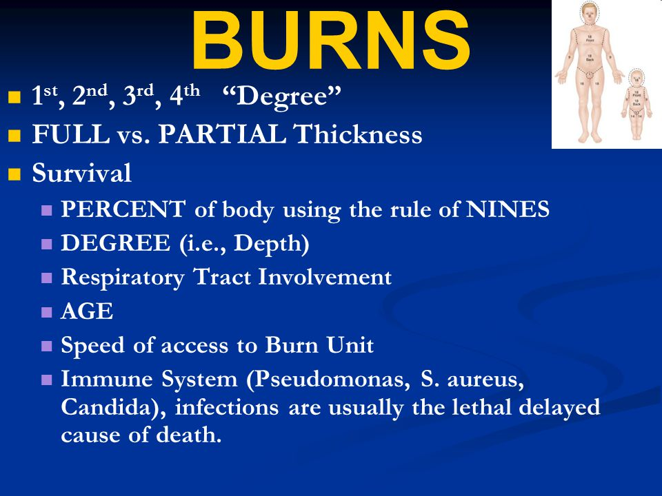 """BURNS 1 st, 2 nd, 3 rd, 4 th """"Degree"""" FULL vs. PARTIAL Thickness Survival PERCENT of body using the rule of NINES DEGREE (i.e., Depth) Respiratory Tra"""