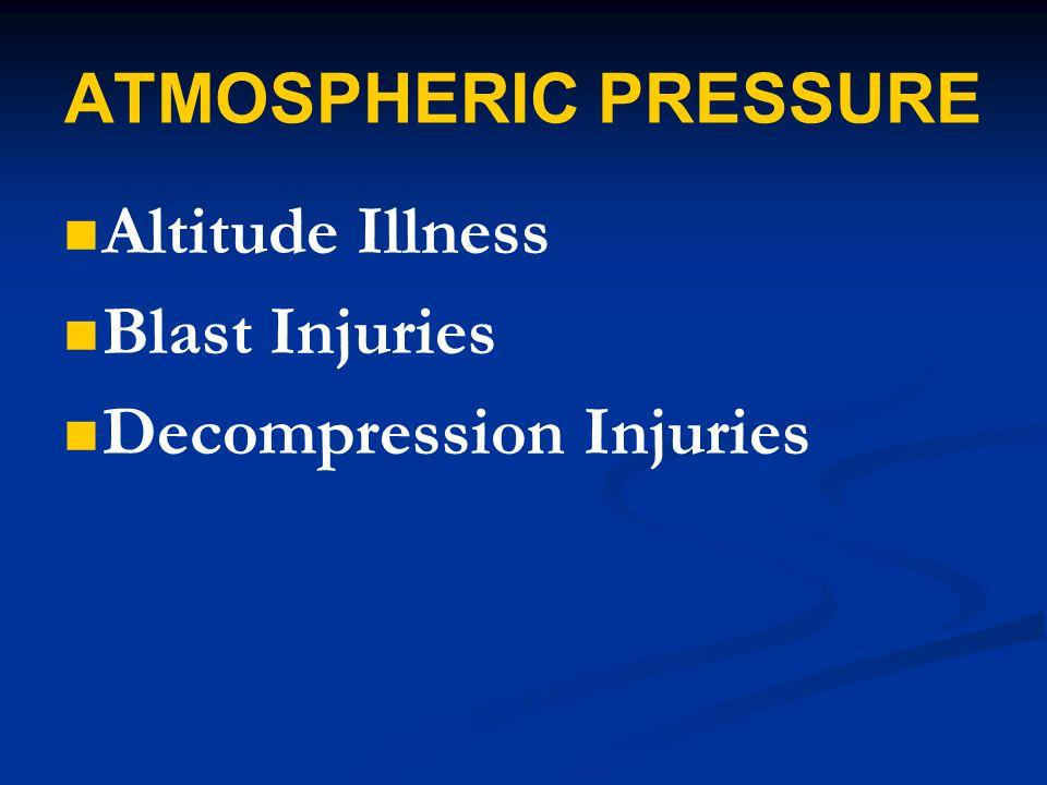 ATMOSPHERIC PRESSURE Altitude Illness Blast Injuries Decompression Injuries