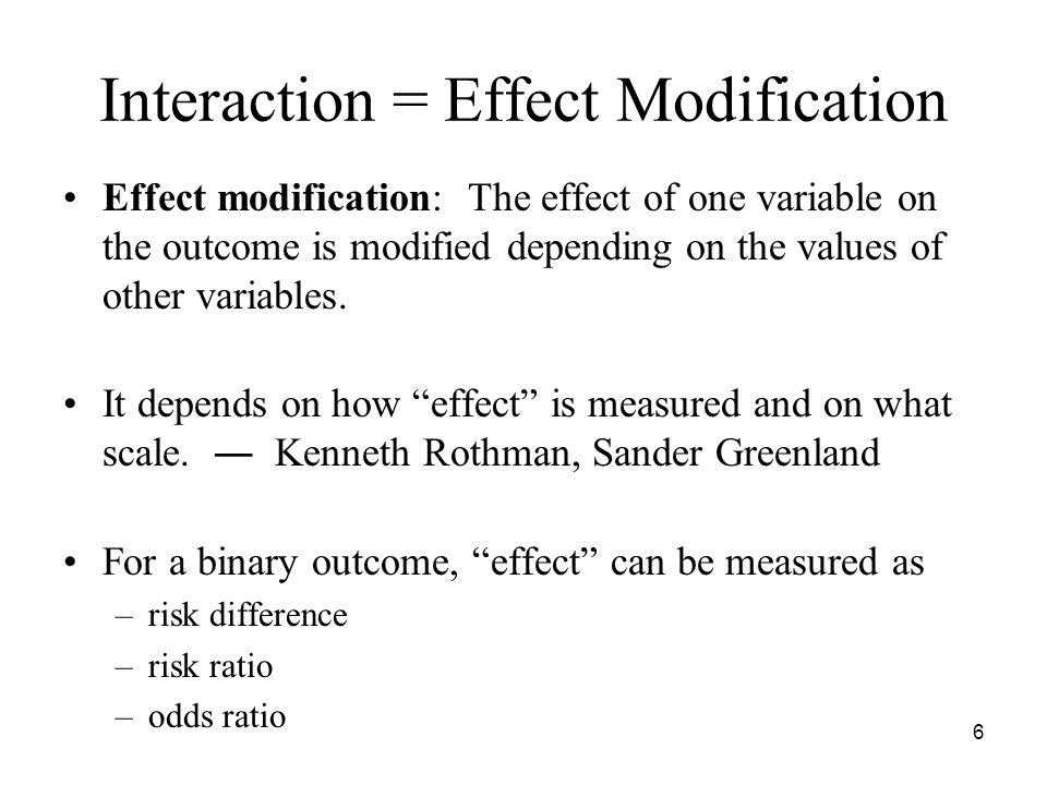17 Misconception 2 Interpret main-effect terms when interaction terms are included in the model: –Evaluation of statistical significance of main-effect .