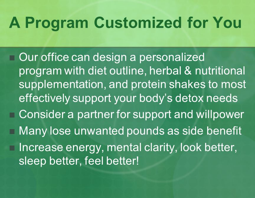 BIO-DETOXIFICATION CLEANSE AND RECHARGE YOUR MIND, BODY AND SOUL Optimal health and energy requires that each and every cell of our body is vibrantly clean and well nourished.