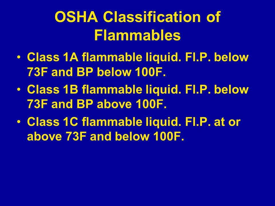 OSHA Classification of Flammables Class 1A flammable liquid.
