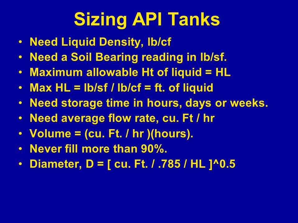 Sizing API Tanks Need Liquid Density, lb/cf Need a Soil Bearing reading in lb/sf.