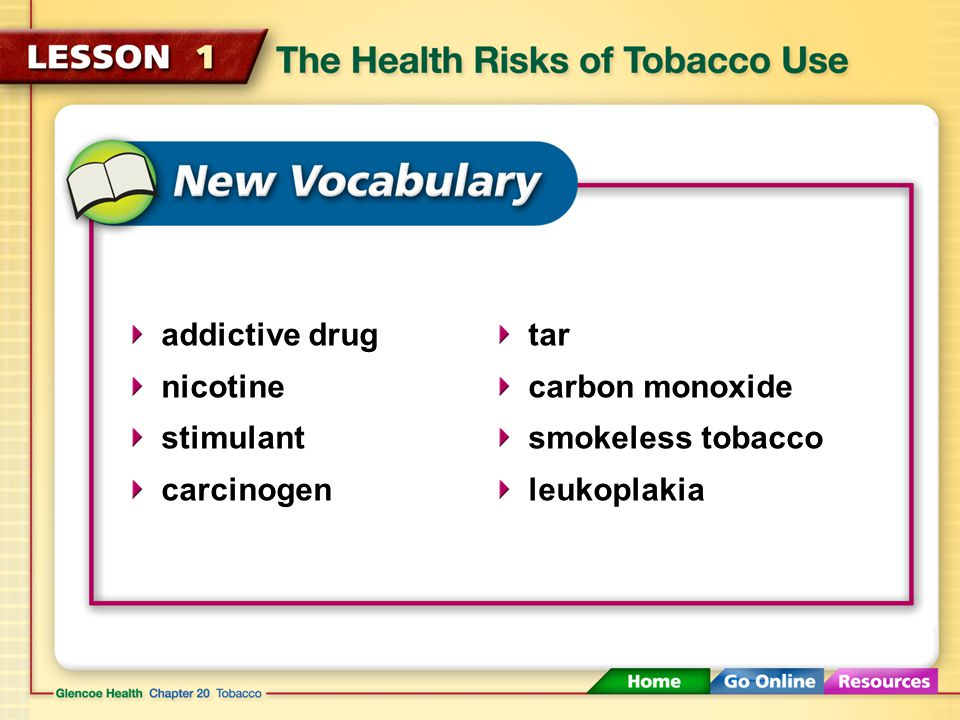Nicotine Nicotine is a stimulant that raises blood pressure and increases the heart rate.