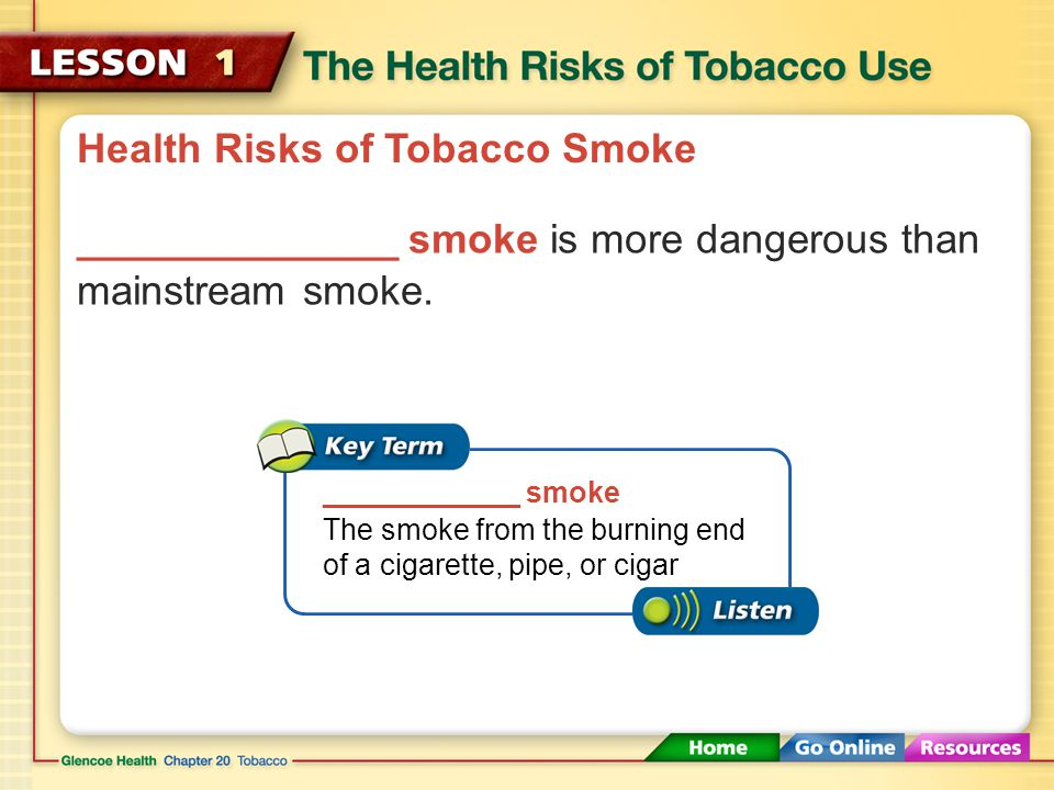 Health Risks of Tobacco Smoke Because _________ smoke has been exhaled by a smoker, it contains lower concentrations of carcinogens, nicotine, and tar.