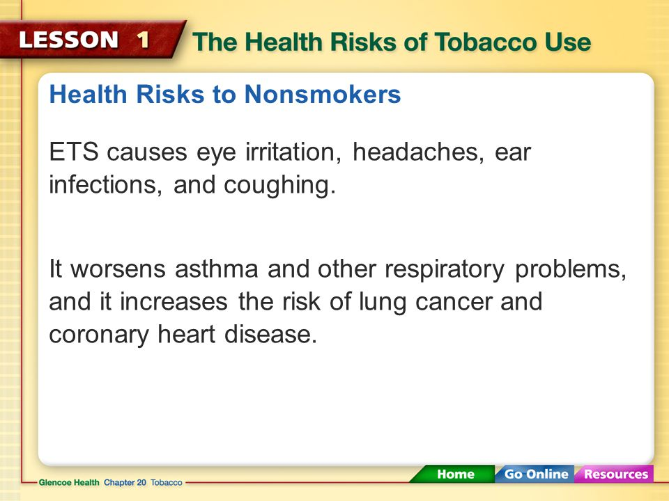 Health Risks of Tobacco Smoke ETS from cigarettes, cigars, and pipes contains more than ________ chemical compounds.
