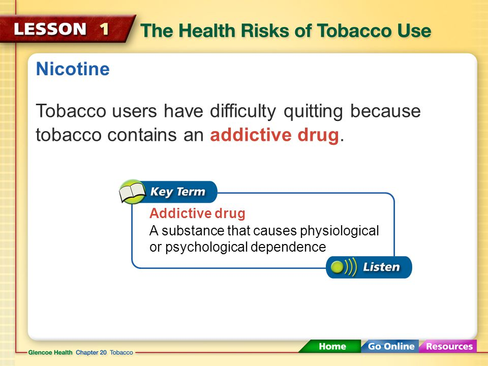 Health Risks of Tobacco Use About 90 percent of adult smokers began the habit as teenagers.