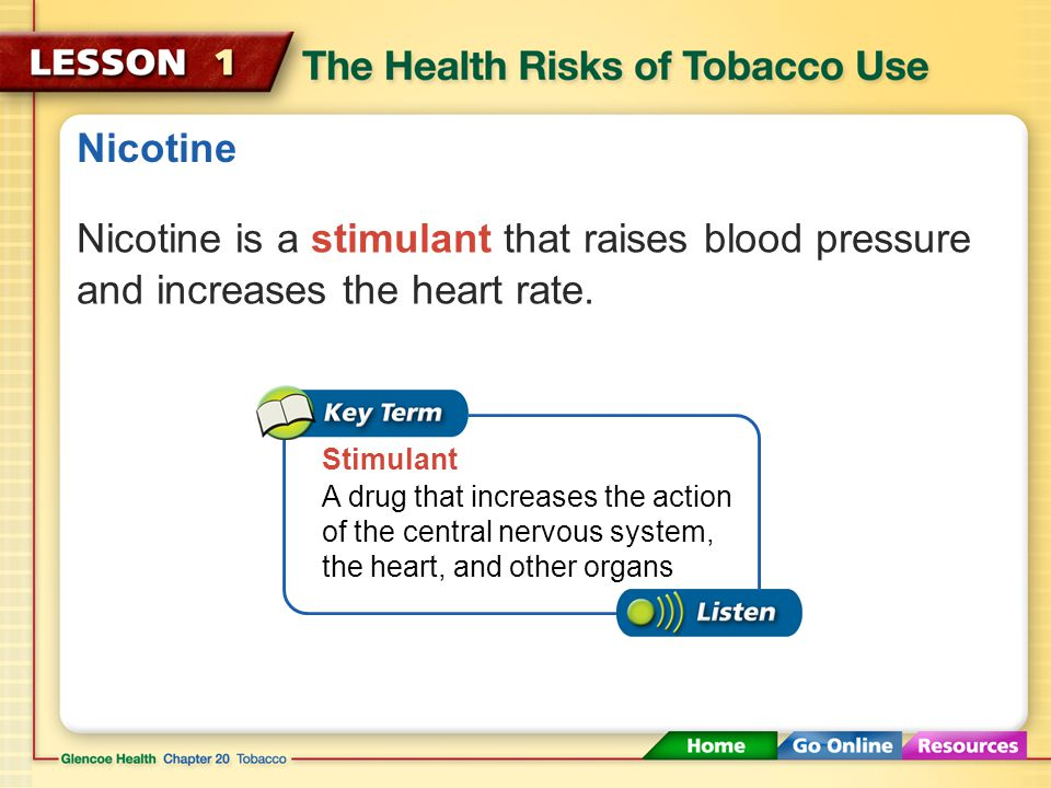 Nicotine All tobacco products contain nicotine. Nicotine The addictive drug found in tobacco leaves