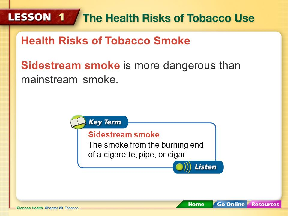 Health Risks of Tobacco Smoke Because mainstream smoke has been exhaled by a smoker, it contains lower concentrations of carcinogens, nicotine, and tar.