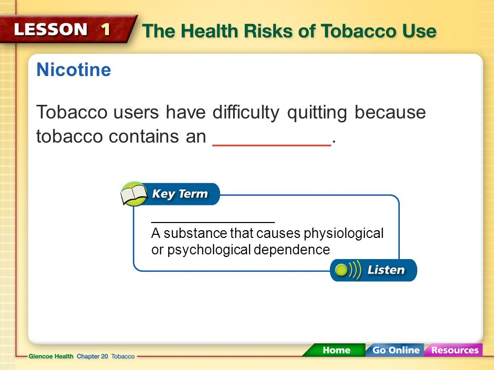 Health Risks of Tobacco Use About __ percent of adult smokers began the habit as teenagers.