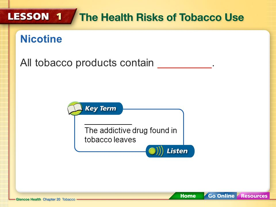Nicotine All tobacco products contain _________.