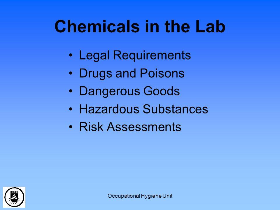 Occupational Hygiene Unit Dangerous Goods Oxidizers