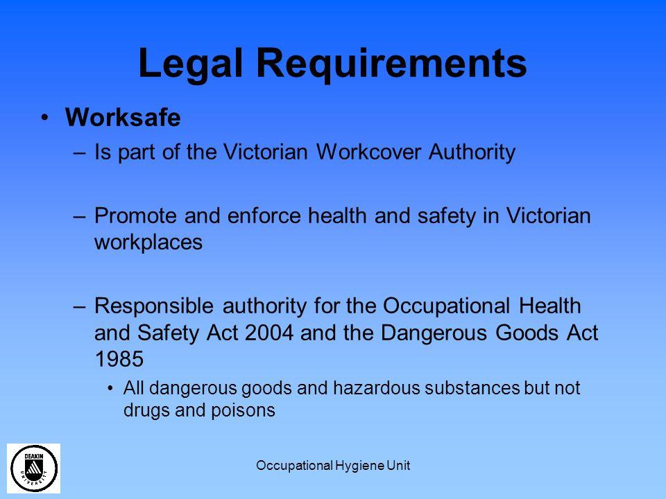 Occupational Hygiene Unit Risk Assessments Which Dangerous Goods/Hazardous Substances require a risk assessment.