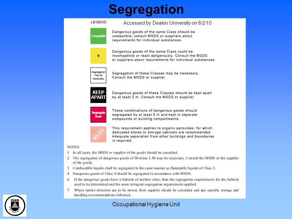 Occupational Hygiene Unit Segregation Accessed by Deakin University on 8/2/10